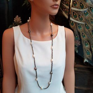 Long Shimmer Gray Micro Formal Beaded Necklace